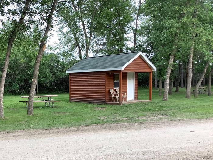 At the entrance to the park. Ample parking and lots of room around the cabin.Cabin 1
