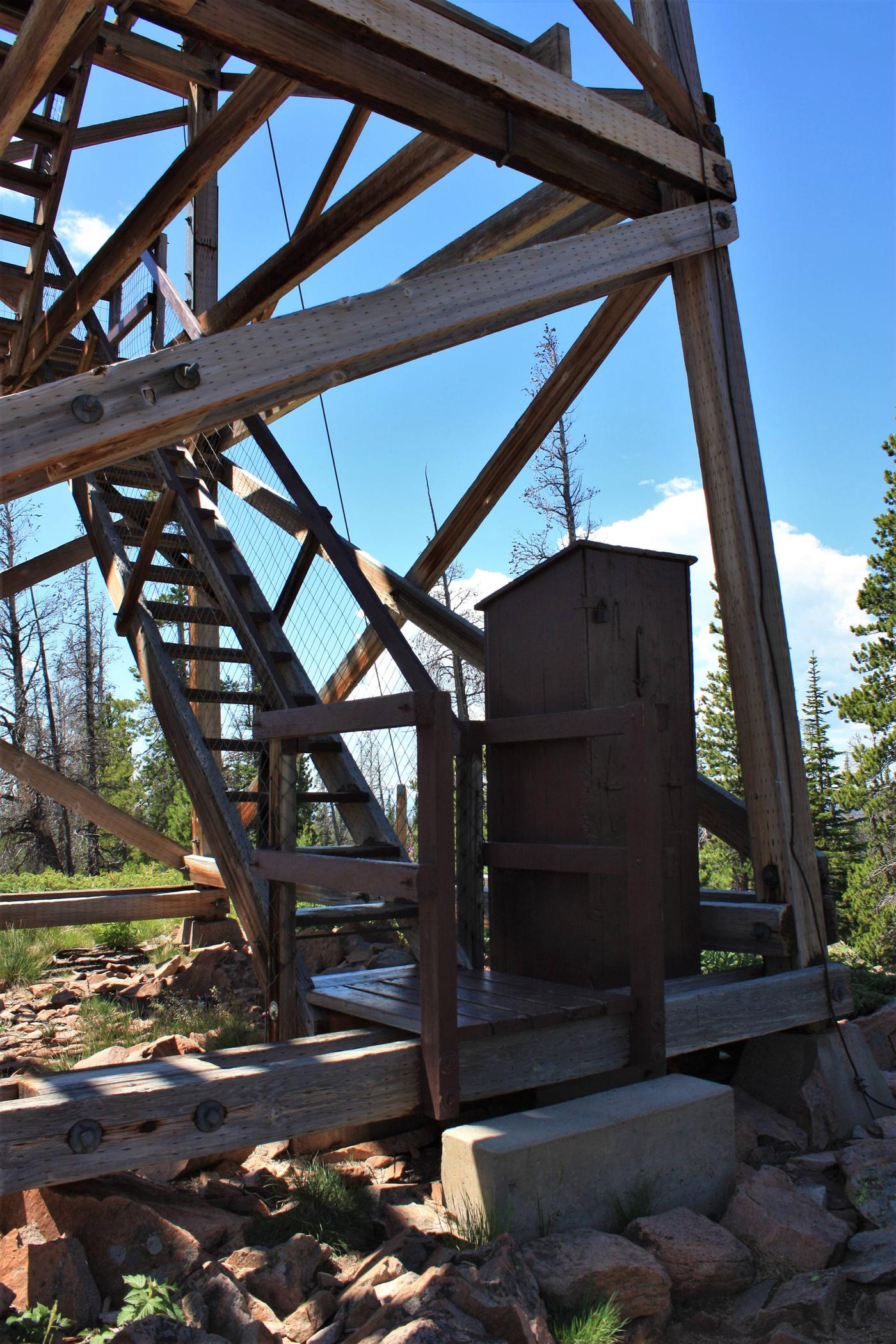 Spruce Mountain Fire Lookout Tower stairway entrance