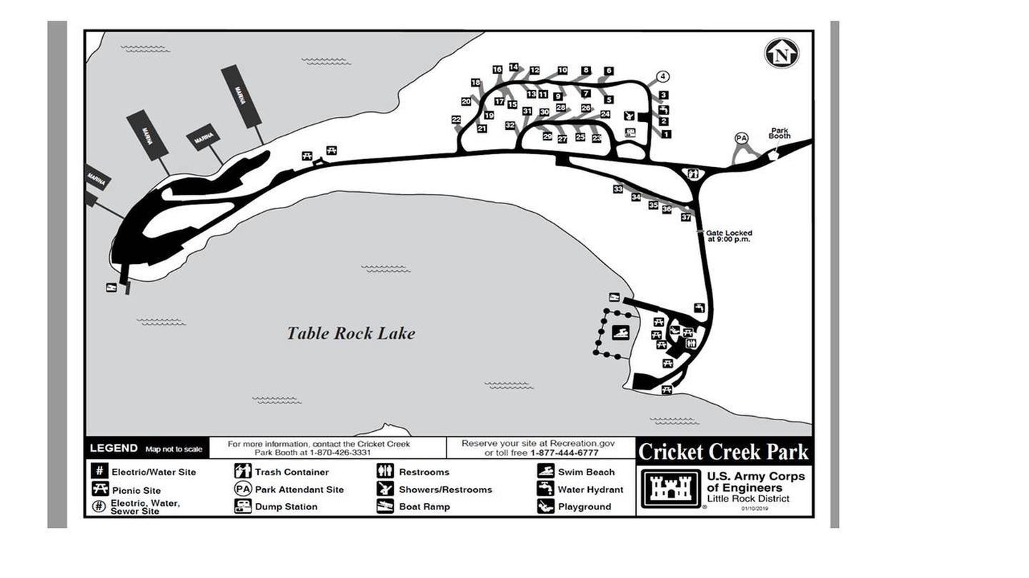 Correct Map of Cricket Creek Campground 2019