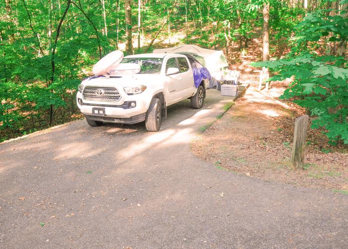 Driveway slope, utilities-side clearanceUpper Stamp Creek Campground, campsite 4.