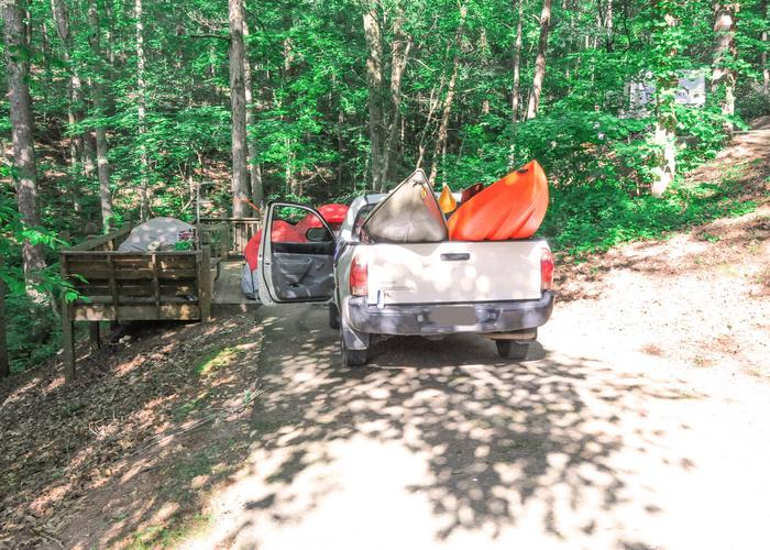 Awning-side clearance, driveway slope.Upper Stamp Creek Campground, campsite 6