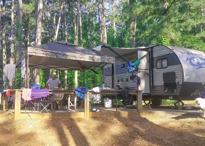 Awning-side clearance, campsite view.Upper Stamp Creek Campground, campsite 12