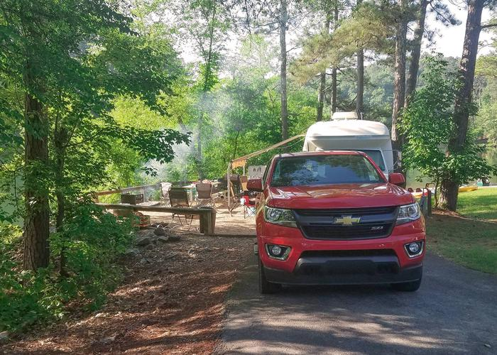 Awning-side clearance, driveway slope.Upper Stamp Creek Campground, campsite 14