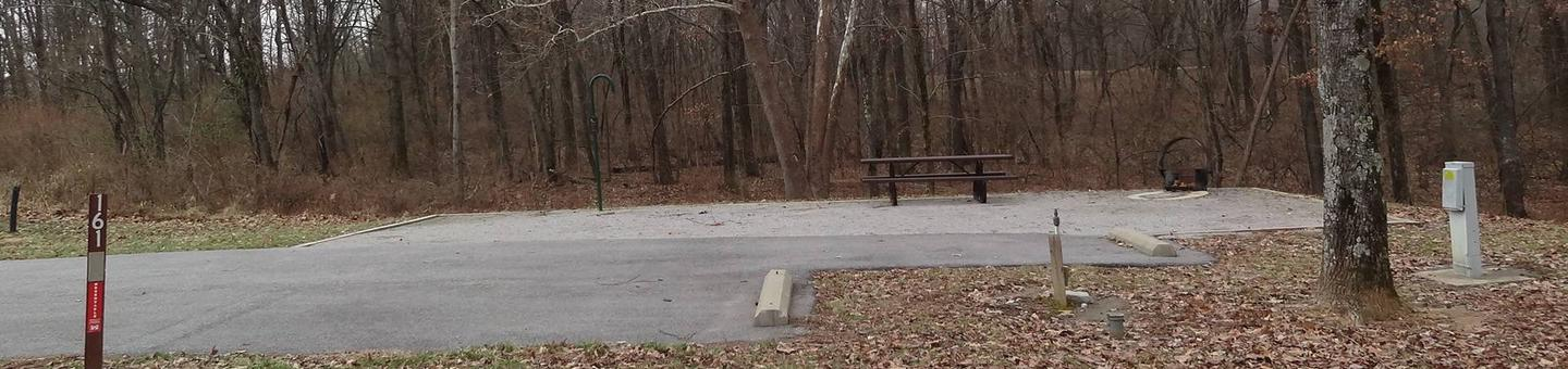 picnic table and fire pit to the left of camp pad, electric, water, extra parking to the right of pad.