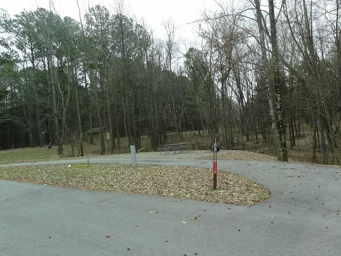 Pull through type site with picnic table and fire pit on the right of camp pad, and water and electric on left of camp pad
