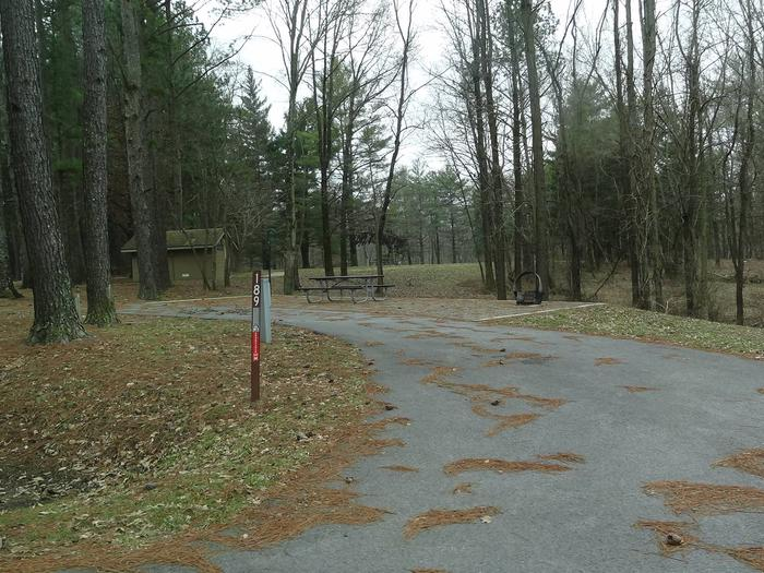 picnic table and fire pit to the right of camp pad, electric, water, and sewer to the left of pad.