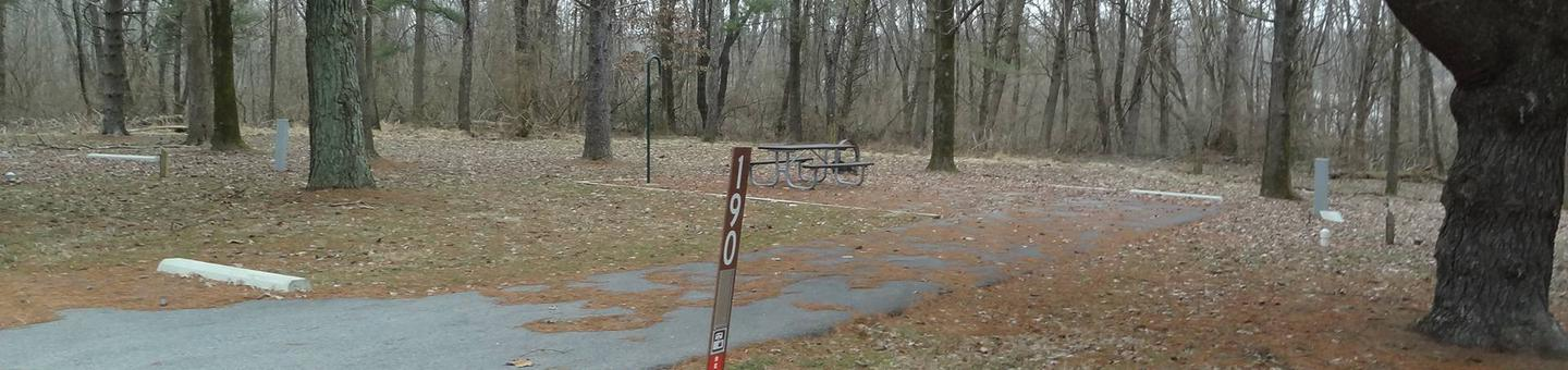 picnic table, fire pit, and extra parking to the left of camp pad, electric, water, and sewer to the right of pad.