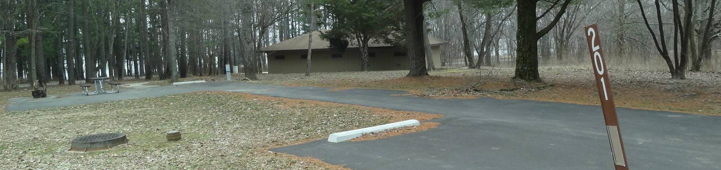 picnic table, fire pit, and extra parking to the left of camp pad, electric to the right of pad.