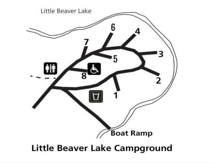 Site map for Little Beaver Lake Campground
