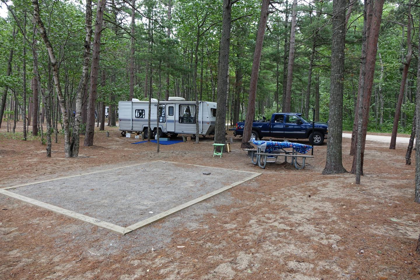Site at campground with room for RV parking and tent spaceSite ate Twelvemile