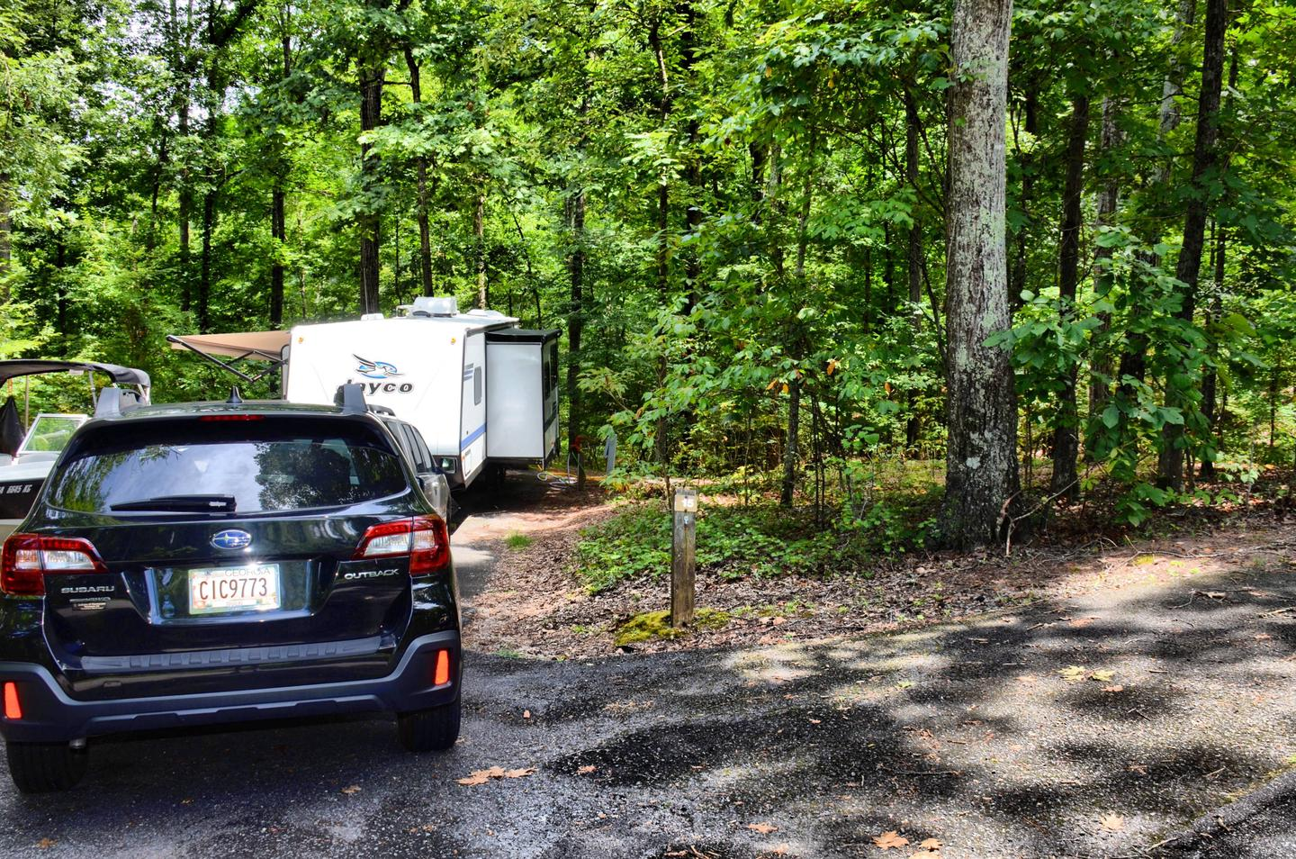 Utility-side clearance, driveway slope.McKinney Campground, campsite 15.