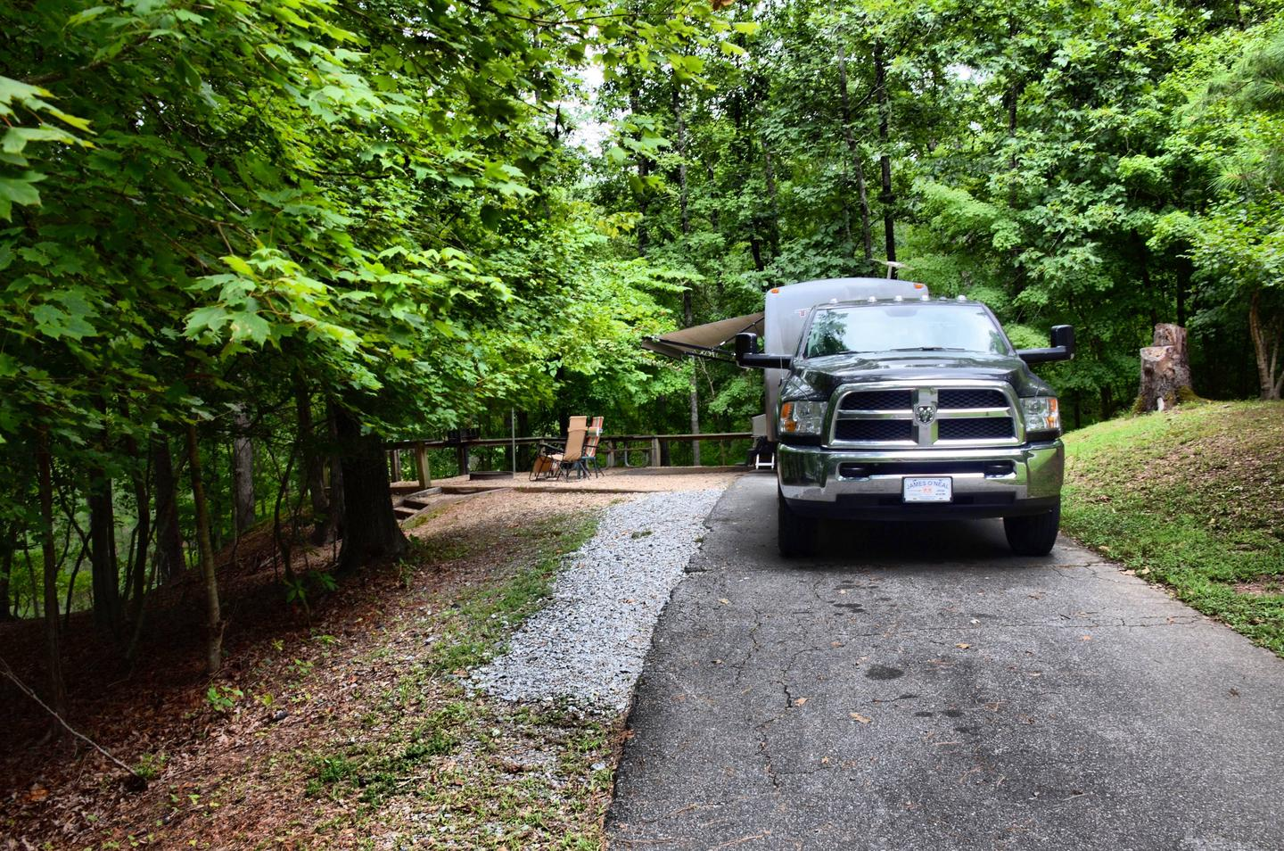 Driveway slope, awning-side clearance.McKinney Campground, campsite 79.