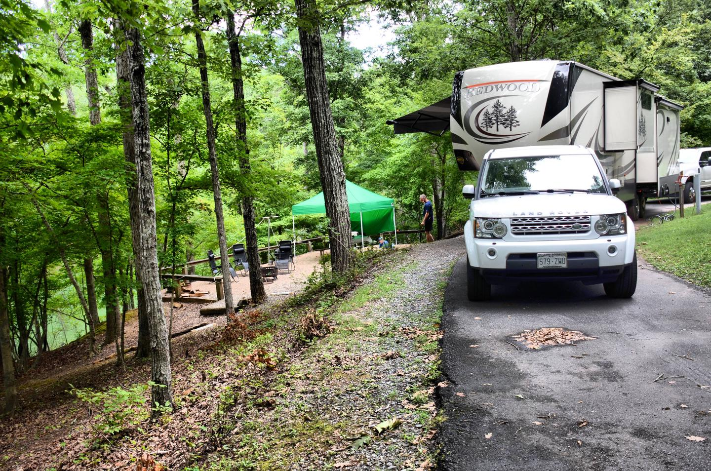 Awning-side clearance.McKinney Campground, campsite 80.