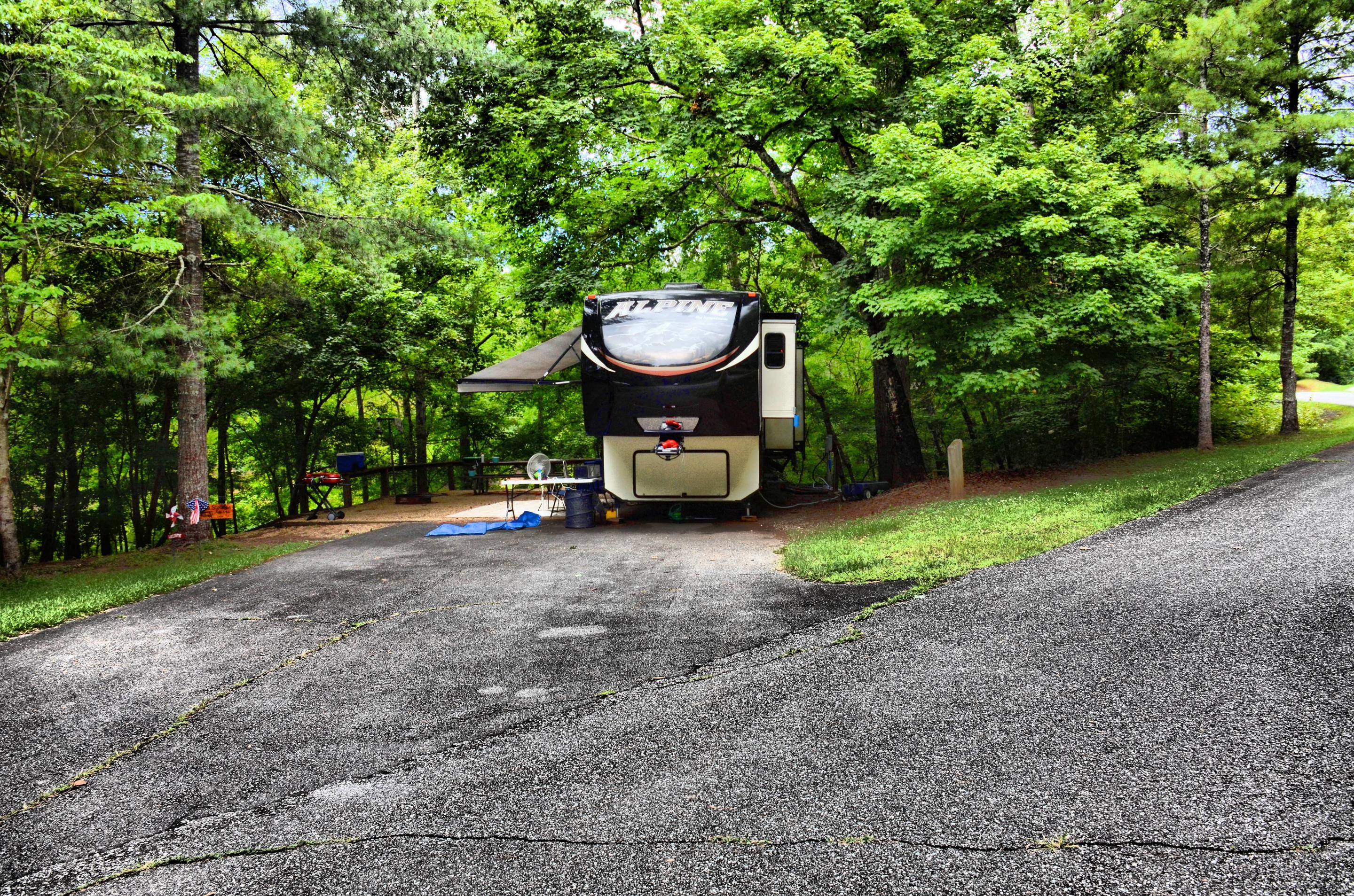 Driveway, awning-side clearance.McKinney Campground, campsite 81