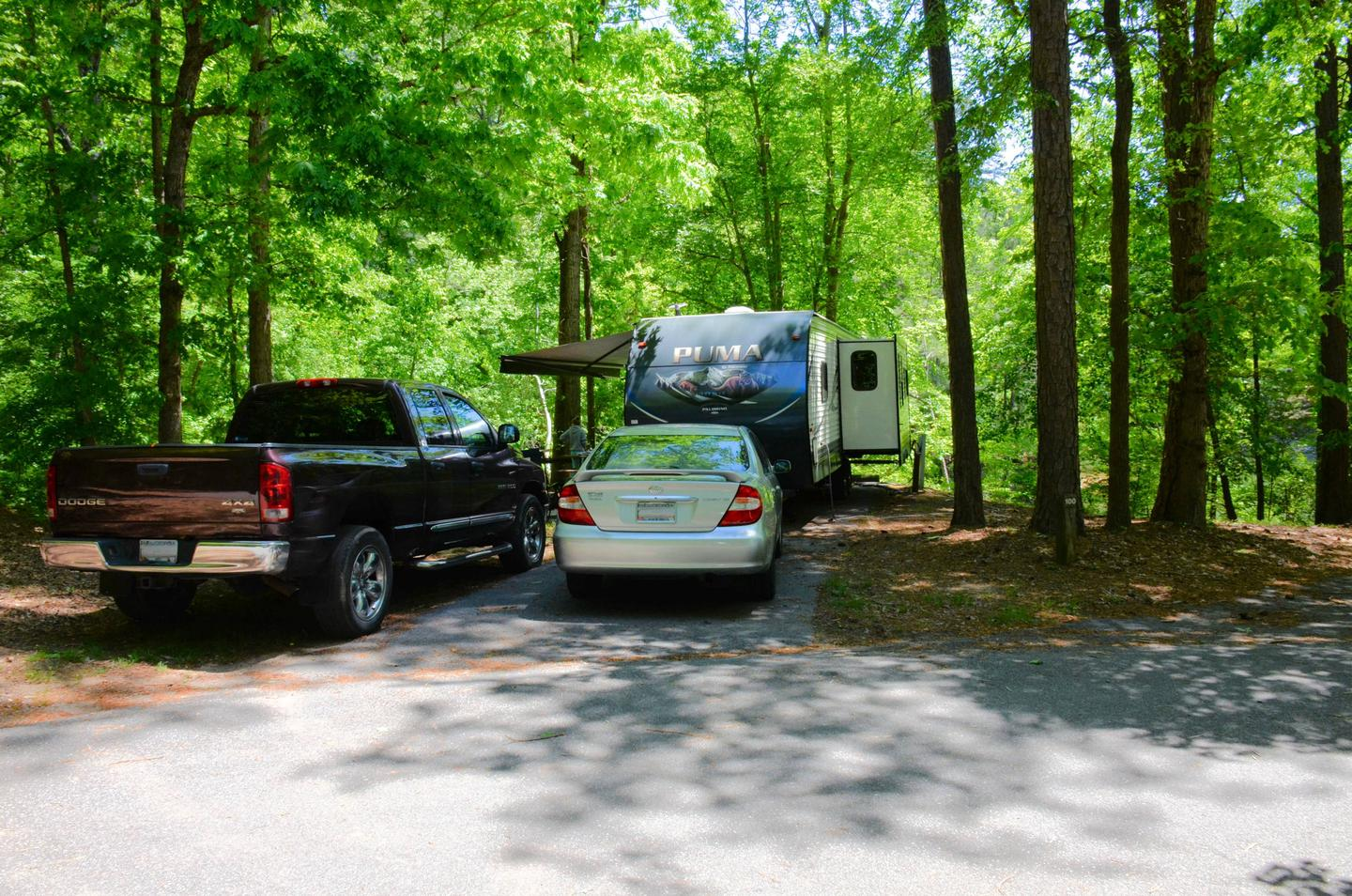 Utilities-side clearance, driveway.McKinney Campground, campsite 100.