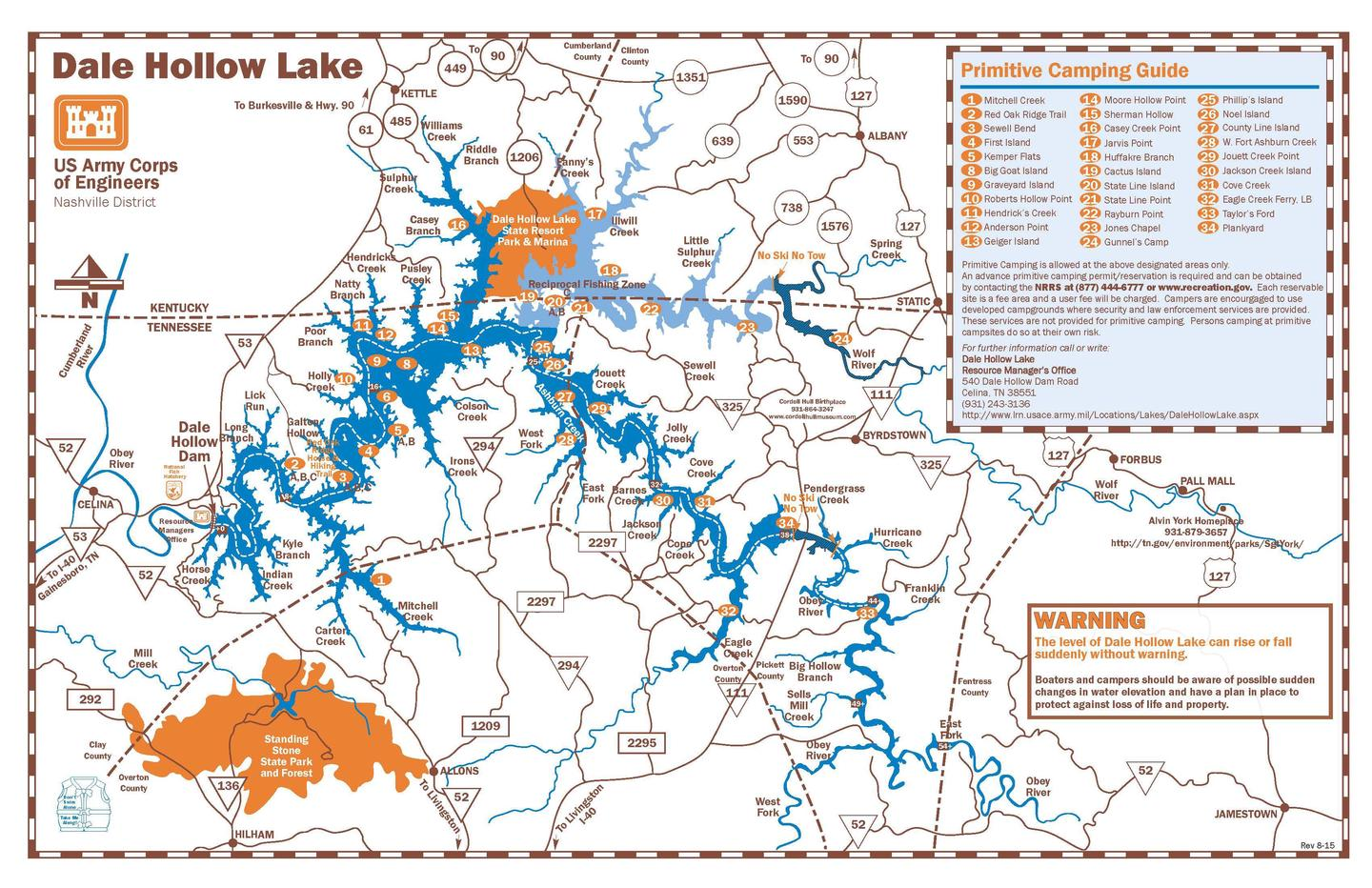 DALE HOLLOW LAKE PRIMITIVE CAMPING MAP