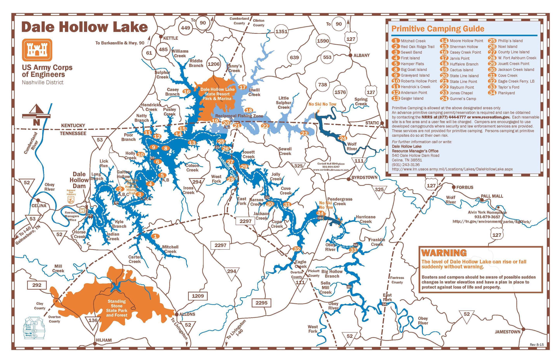 DALE HOLLOW LAKE PRIMITIVE CAMPING MAP