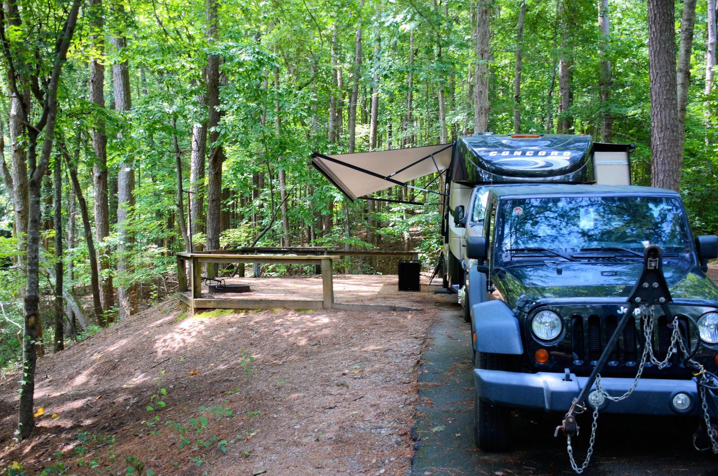 Awning-side clearance, campsite view.McKinney Campground, campsite 140.