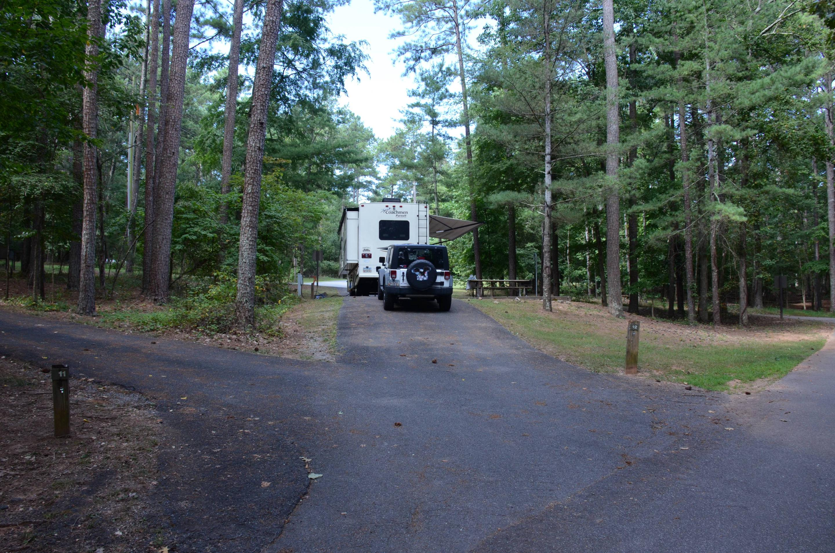 Pull-thru entrance, utilities clearance.McKinney Campground, campsite 12.