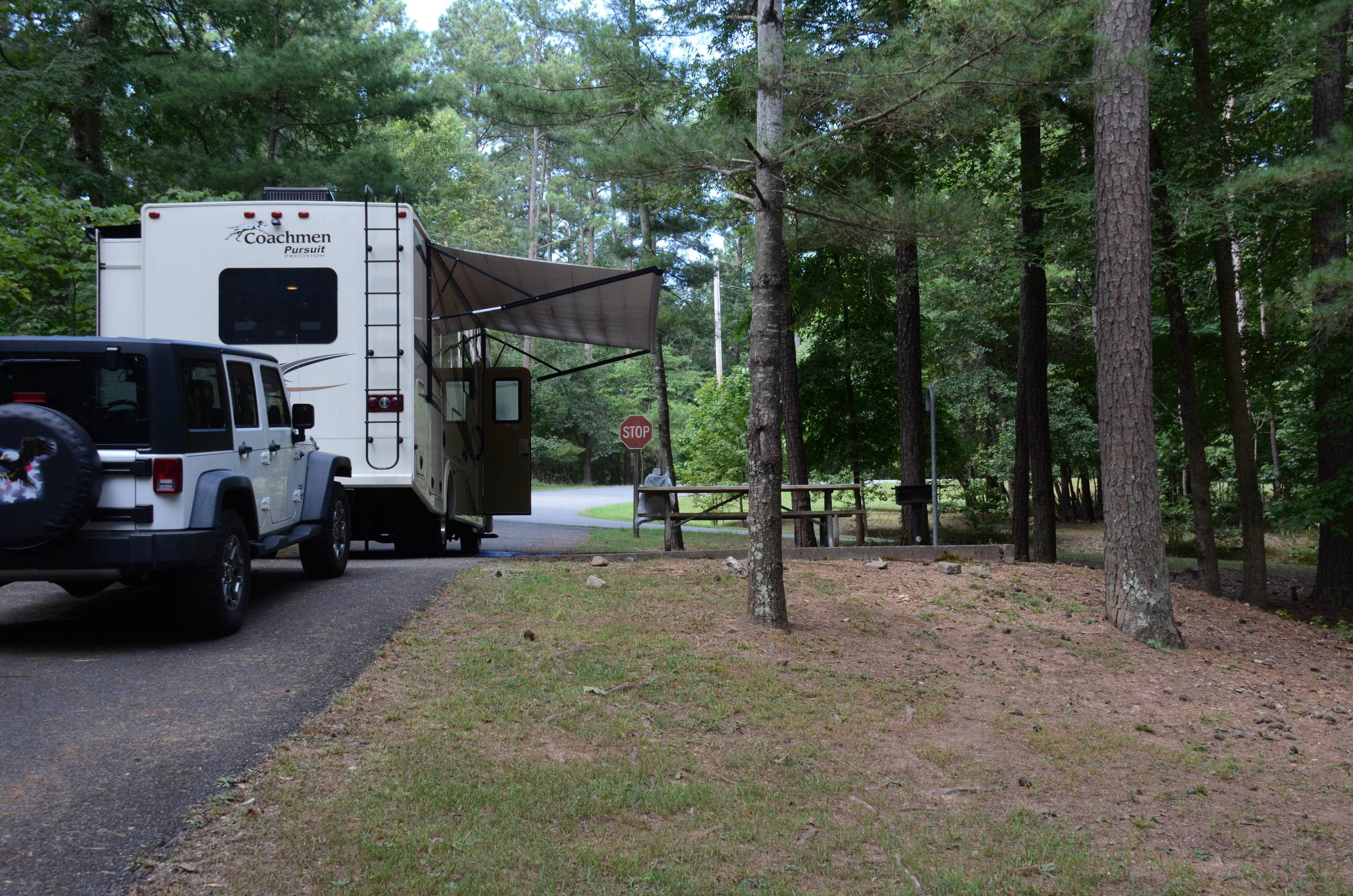 Awning-side clearance.McKinney Campground, campsite 12.