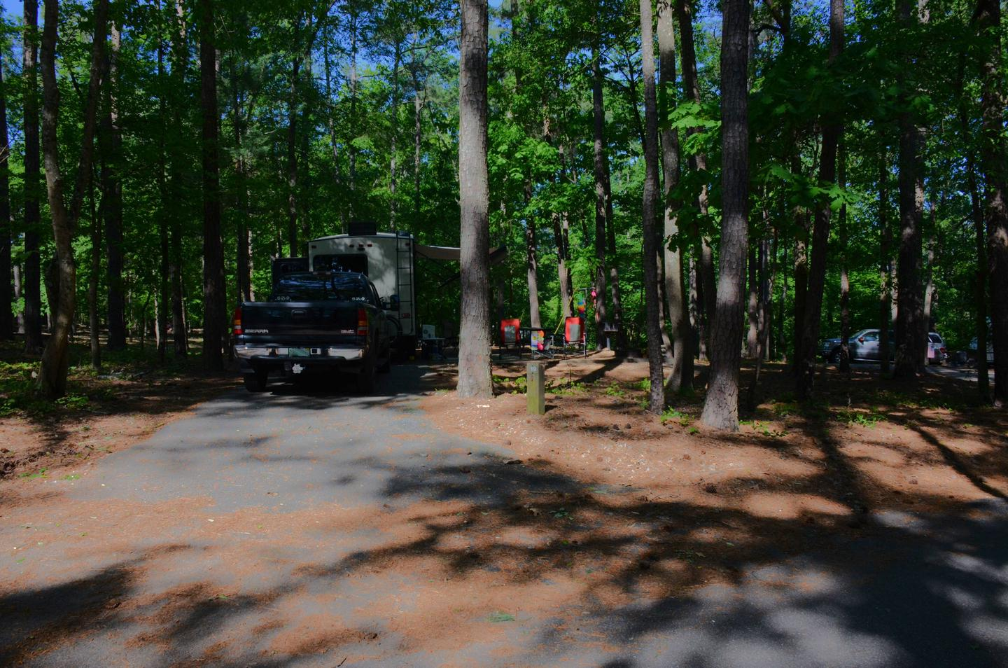 Pull-thru exit, driveway slope, awning-side clearance.McKinney Campground, campsite 19.
