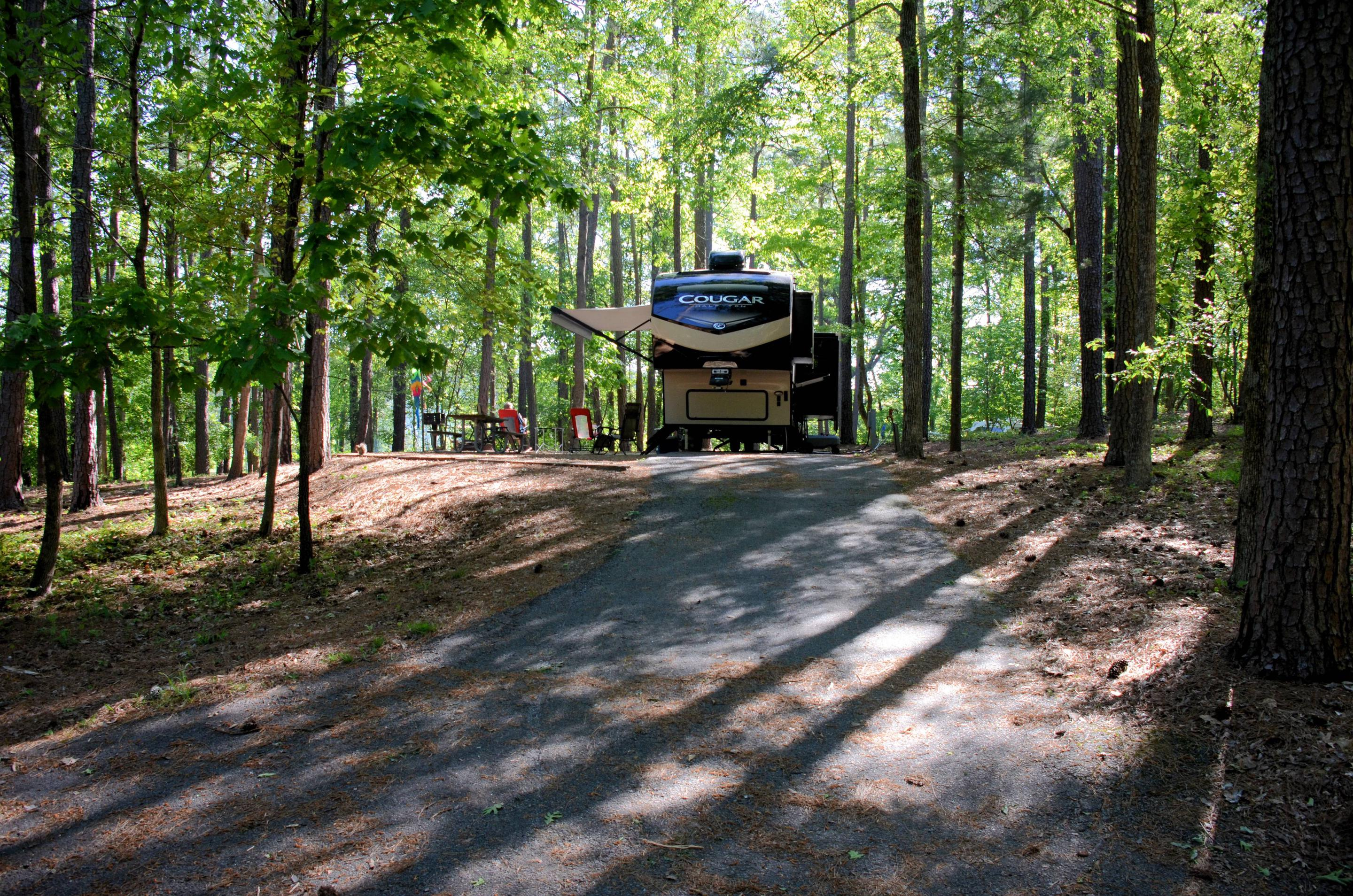 Driveway slope, awning-side clearance.McKinney Campground, campsite 19.