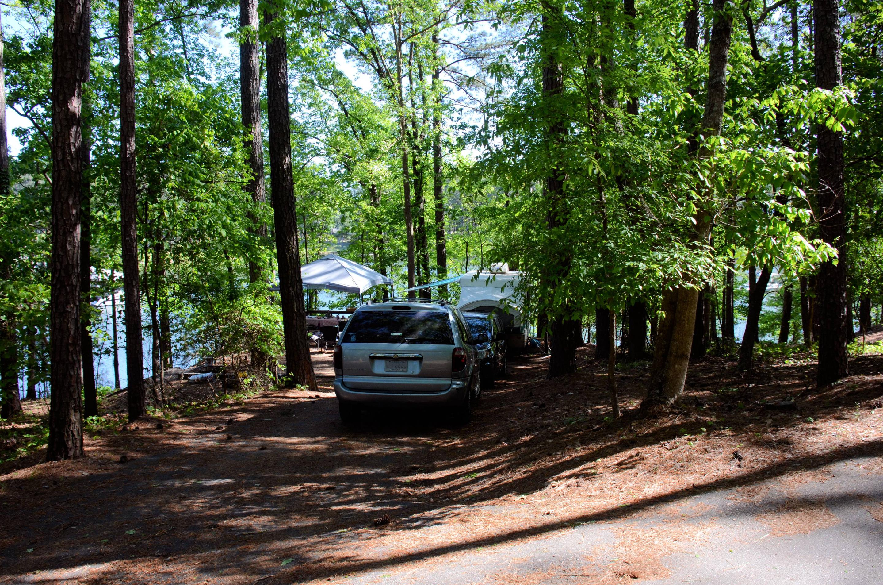 Driveway slope, utilities-side clearanceMcKinney Campground, campsite 21.