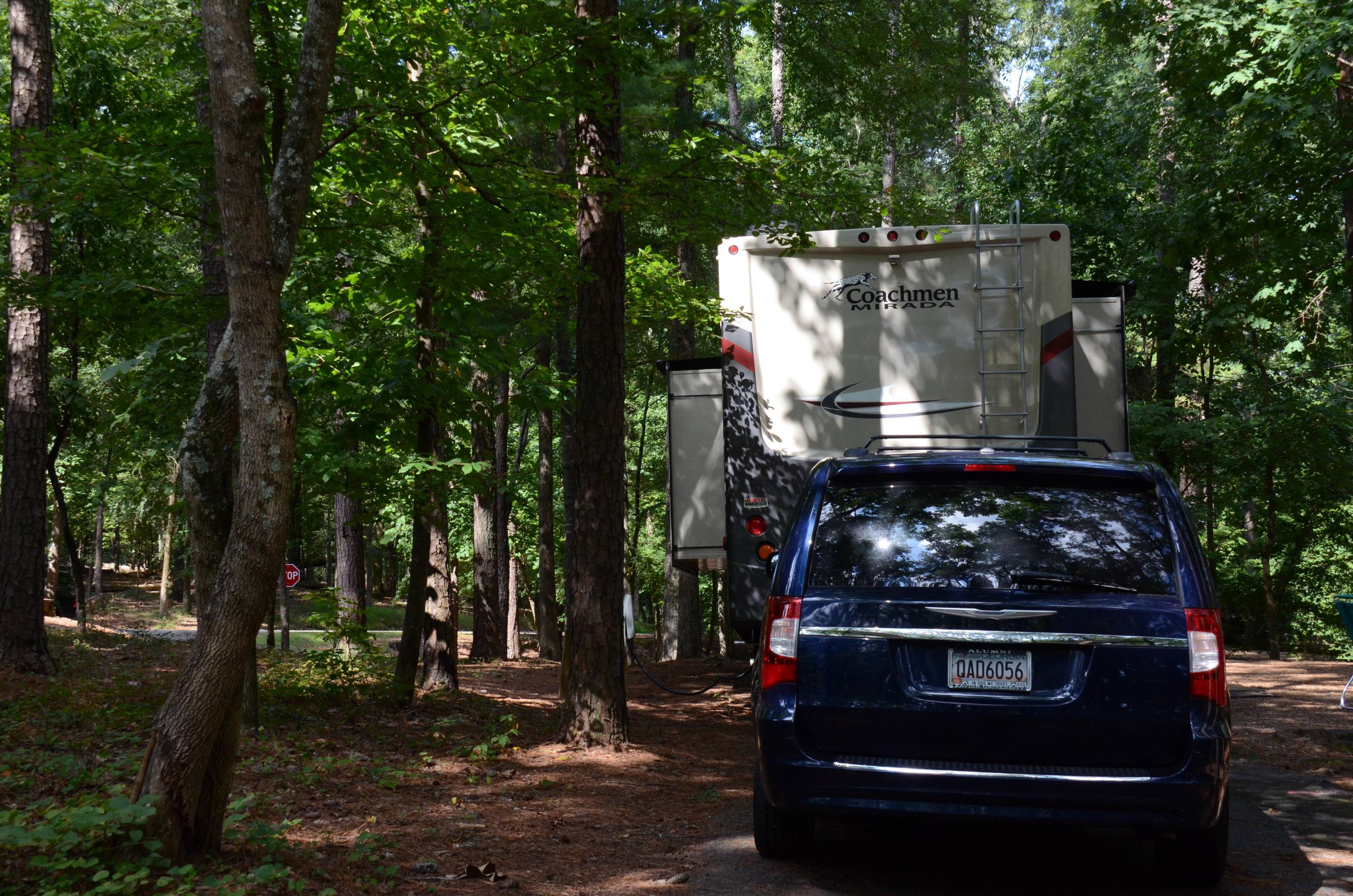 Pull-thru entrance, utilities clearance.McKinney Campground, campsite 19.