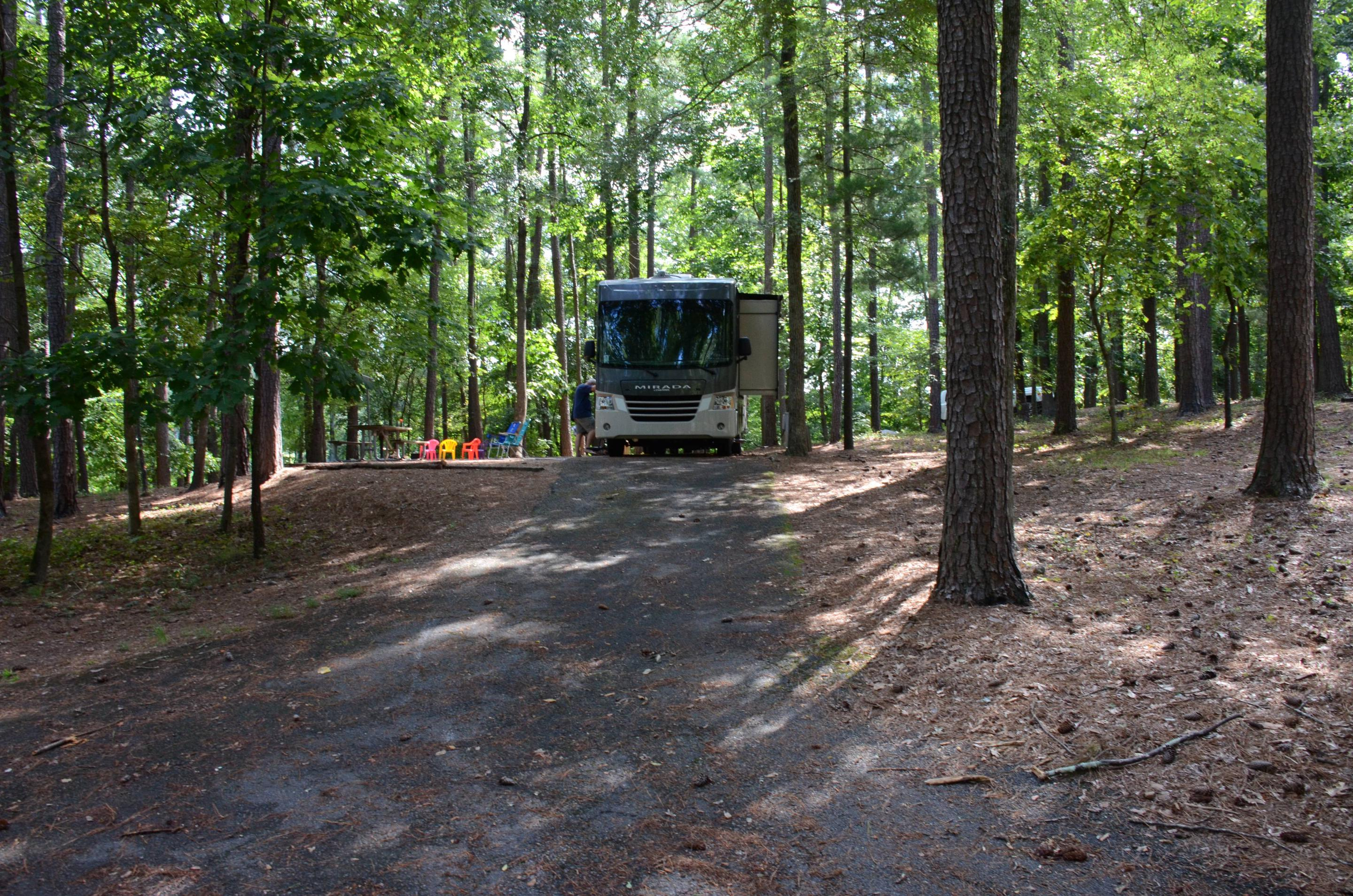 Pull-thru exit, driveway slope, utilities-side clearance.McKinney Campground, campsite 19.