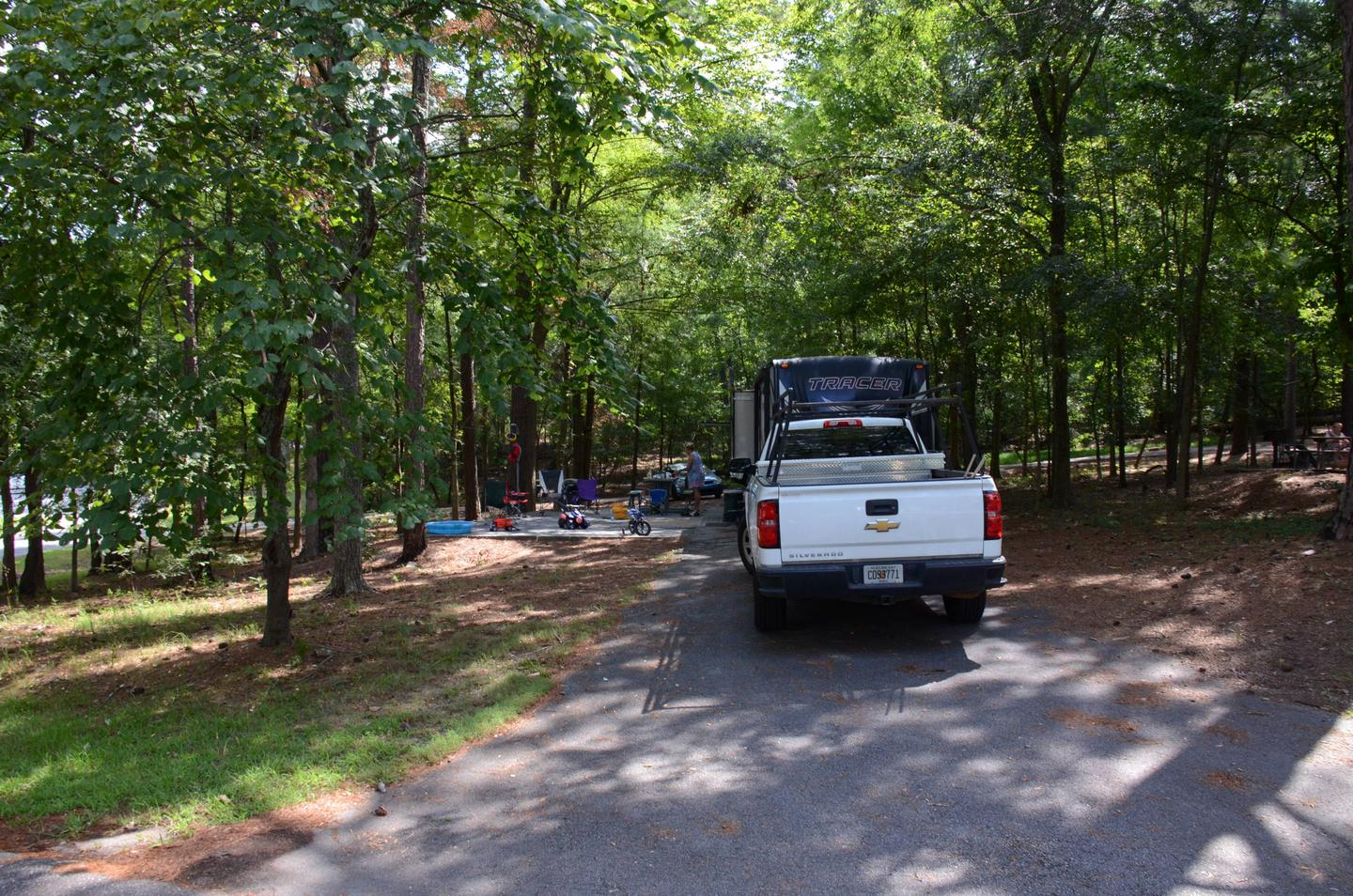 Pull-thru exit, driveway slope, awning-side clearance.McKinney Campground, campsite 31.
