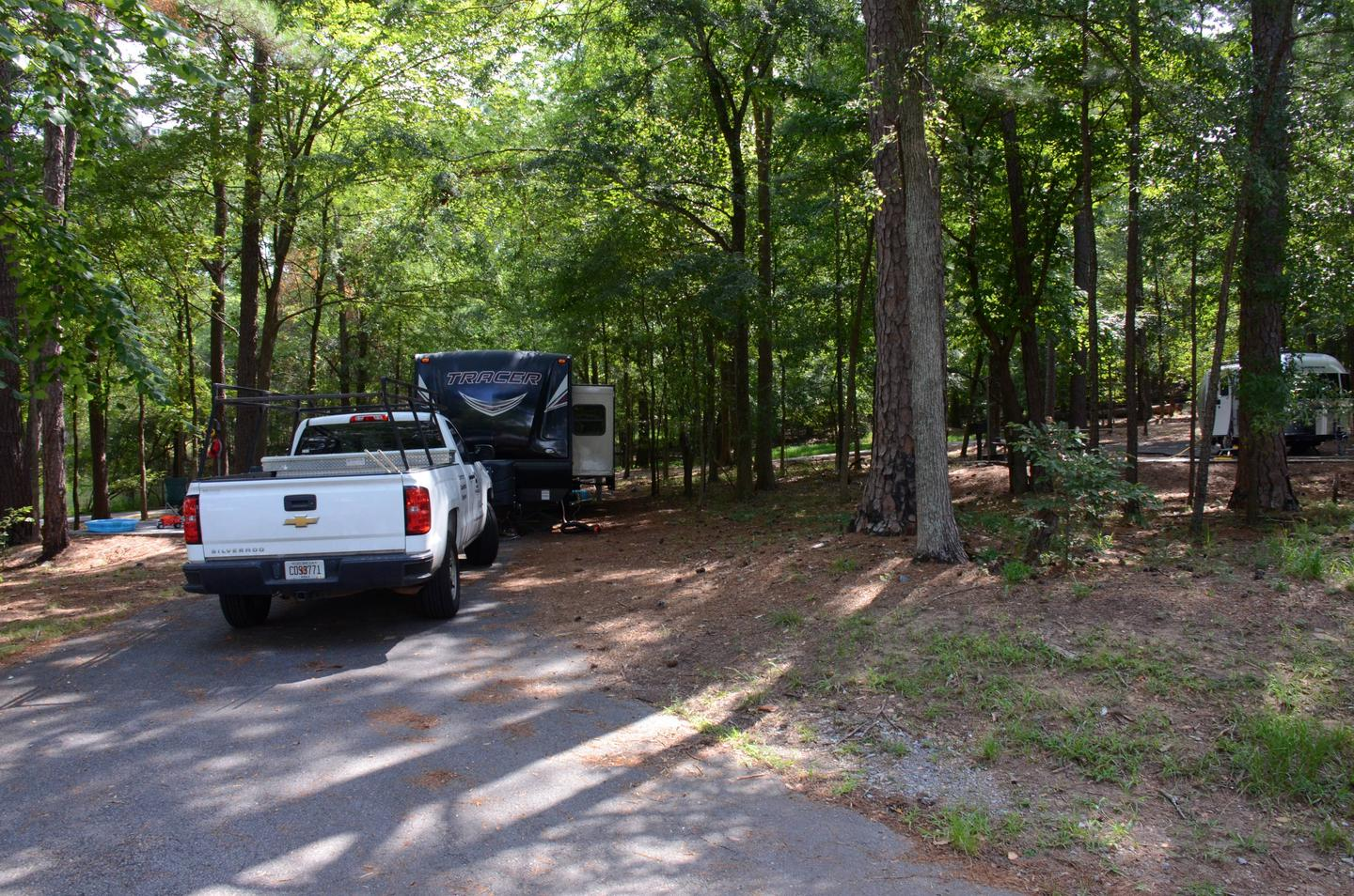 Pull-thru exit, driveway slope, utilities-side clearance.McKinney Campground, campsite 31.