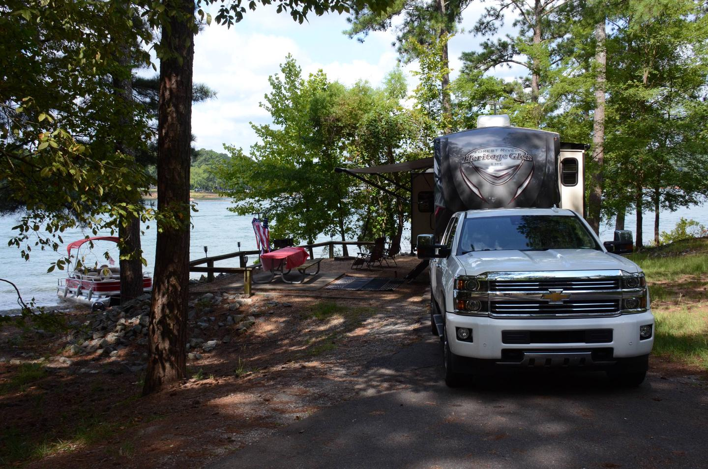 Awning-side clearance, campsite view.McKinney Campground, campsite 36.