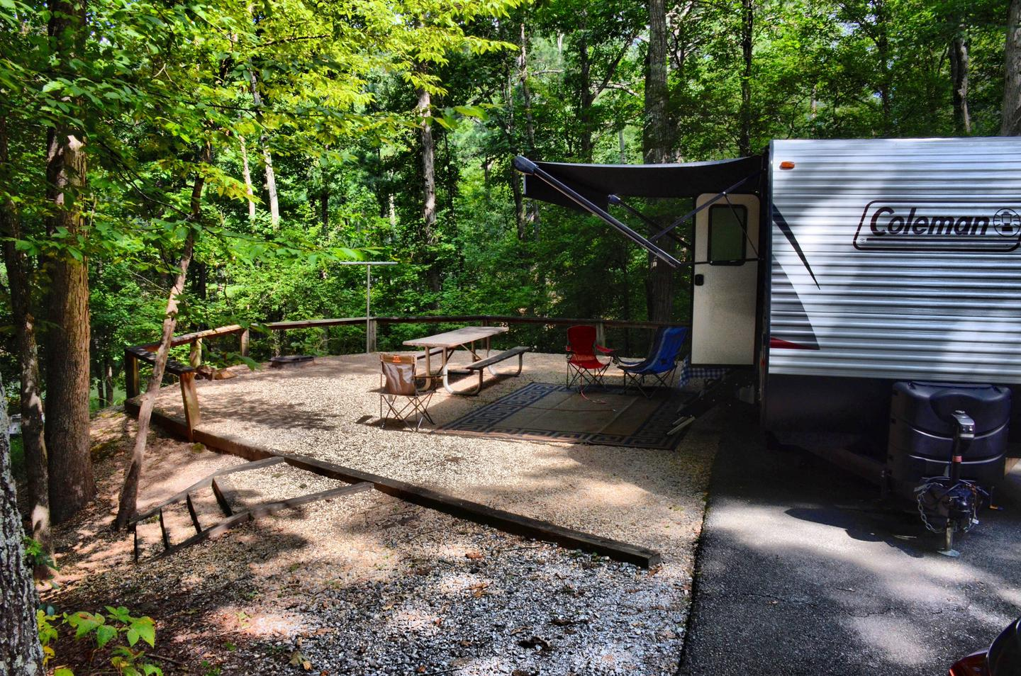 Awning-side clearance, campsite view.McKinney Campground, campsite 78.
