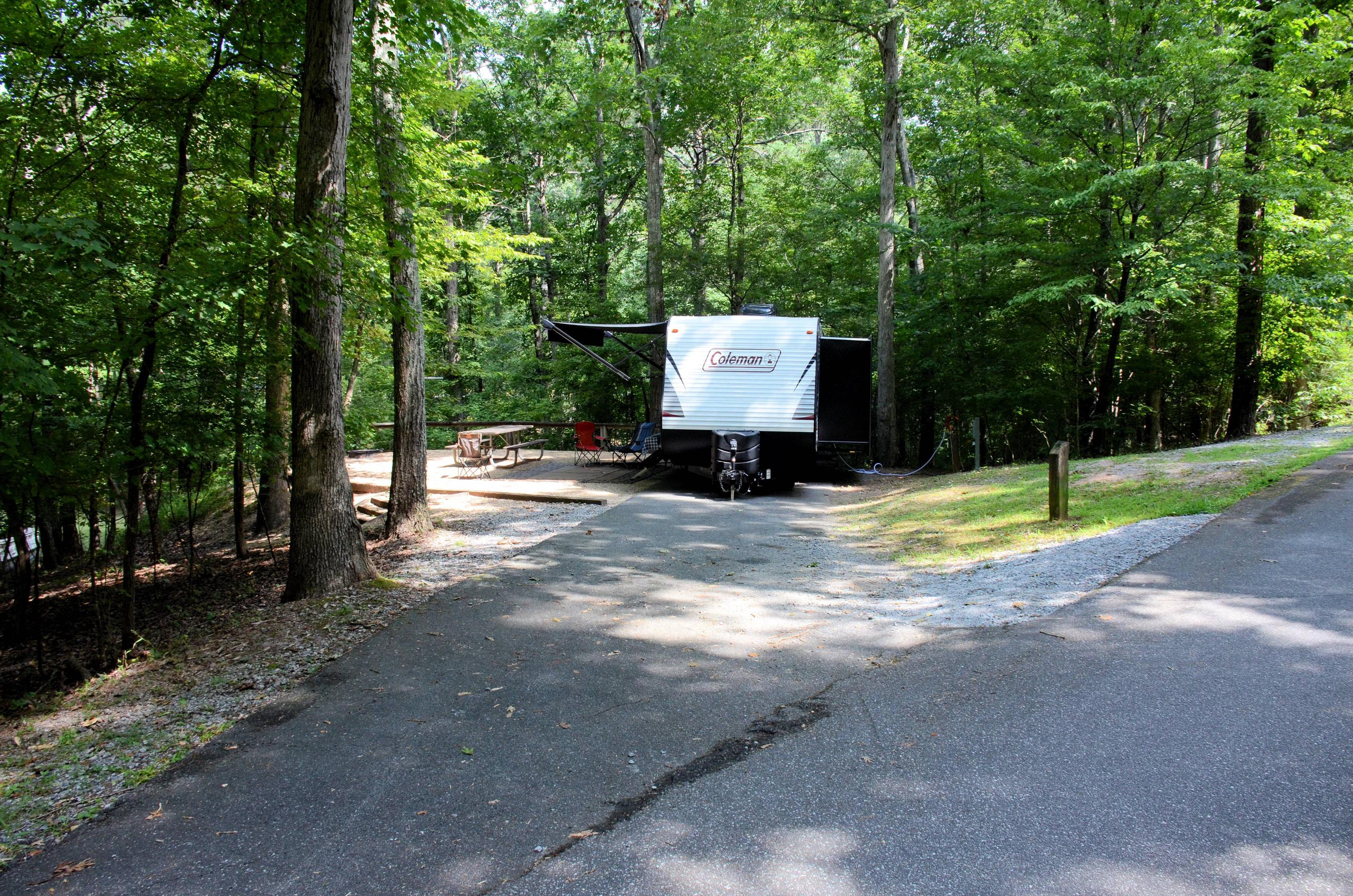 Driveway slope, awning-side clearance.McKinney Campground, campsite 78.