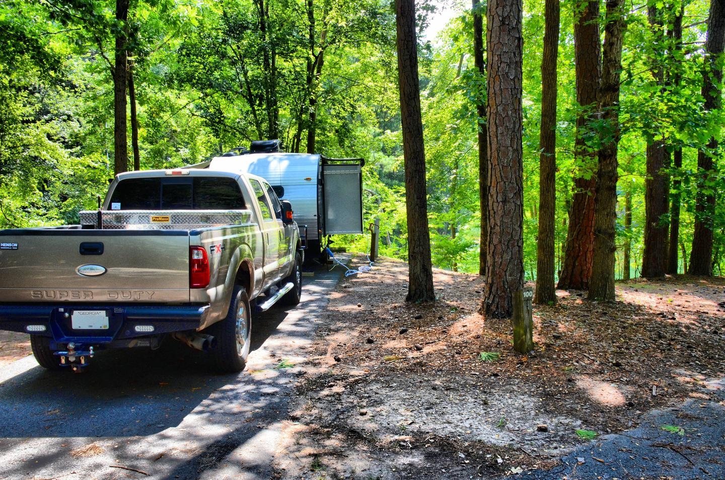 Utilities-side clearance, driveway slope.McKinney Campground, campsite 100.