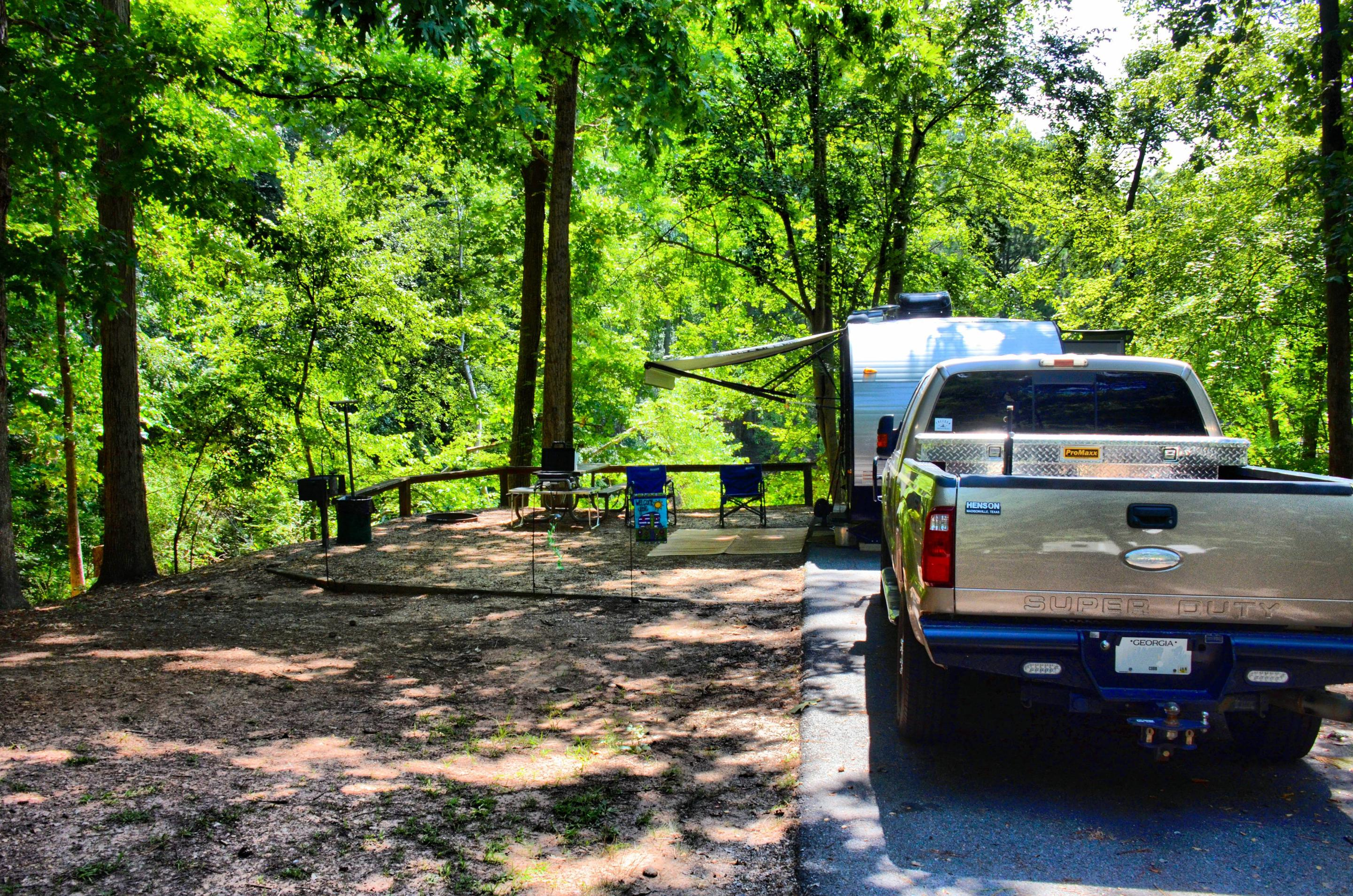 Awning-side clearance, campsite view.McKinney Campground, campsite 100.