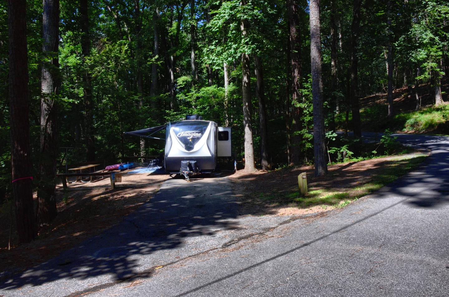 Driveway slope, awning-side clearance.McKinney Campground, campsite 102.