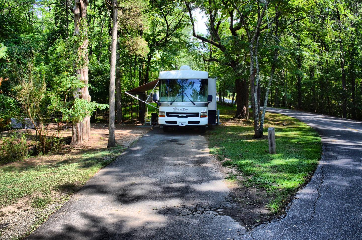 Driveway slope, awning-side clearance.McKinney Campground, campsite 105.