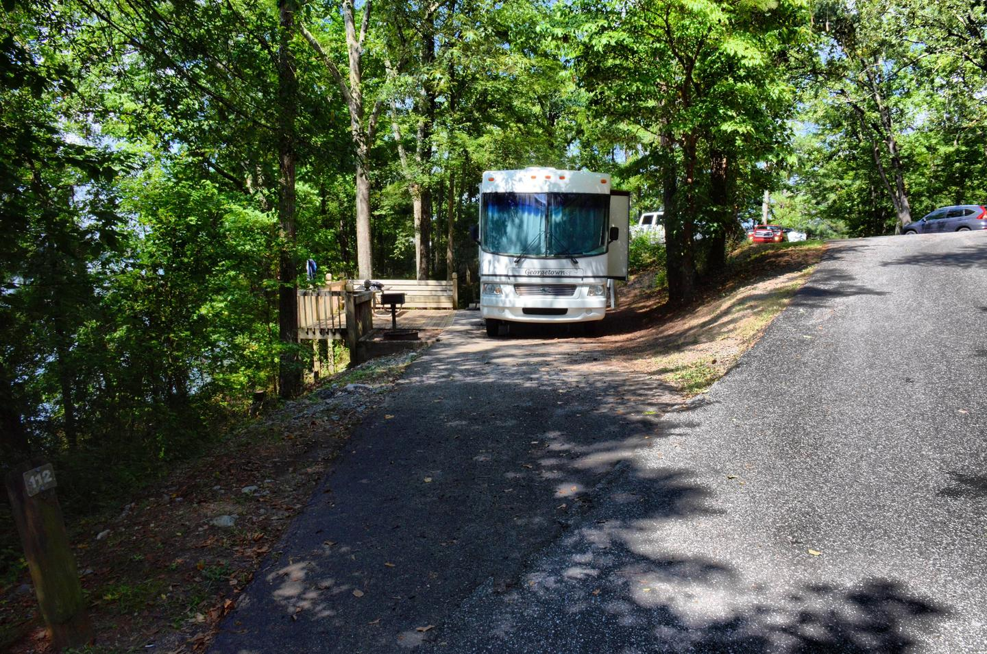 Driveway slope, awning-side clearance.McKinney Campground, campsite 112.