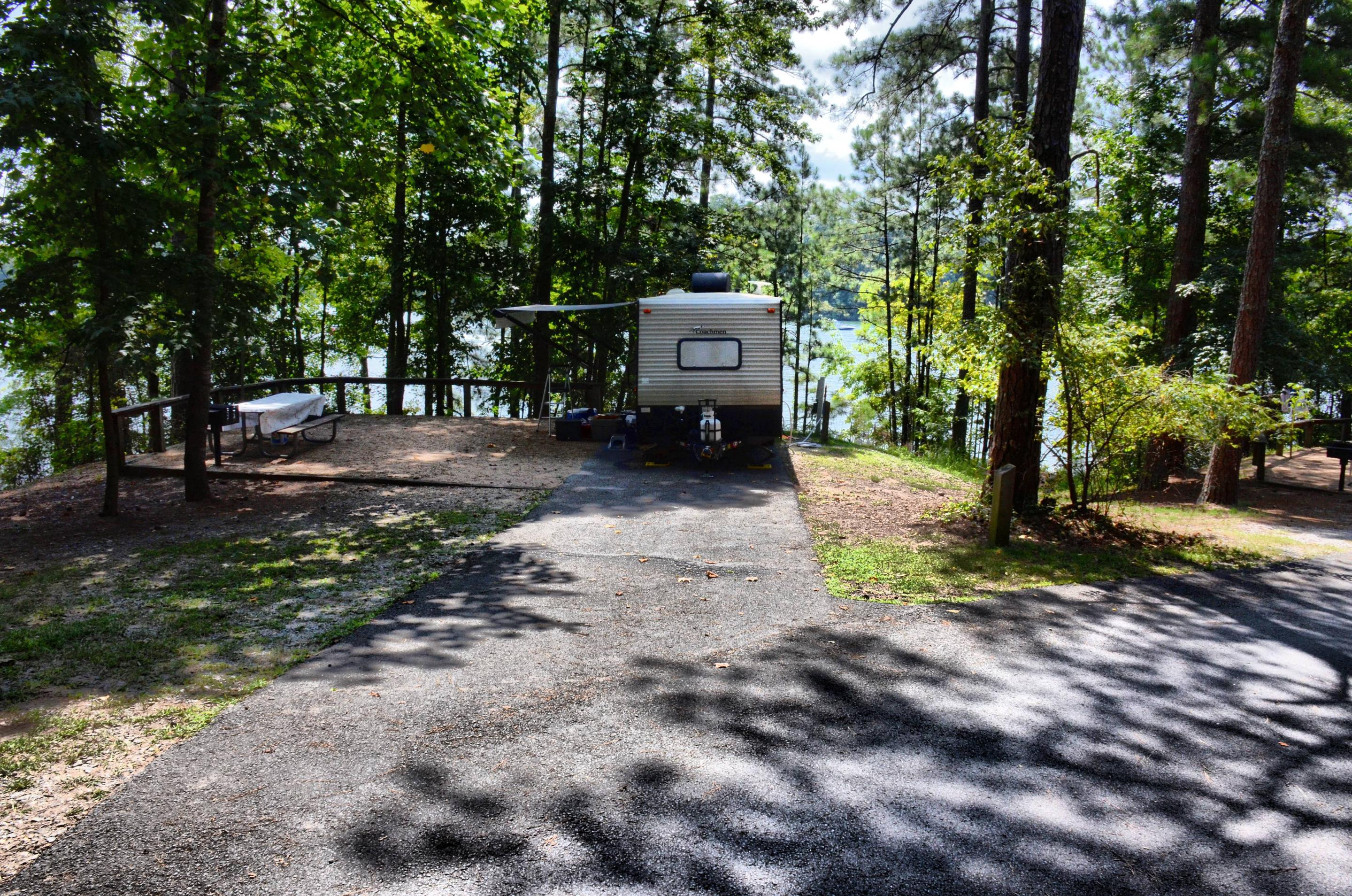 Driveway slope, awning-side clearance.McKinney Campground, campsite 132.