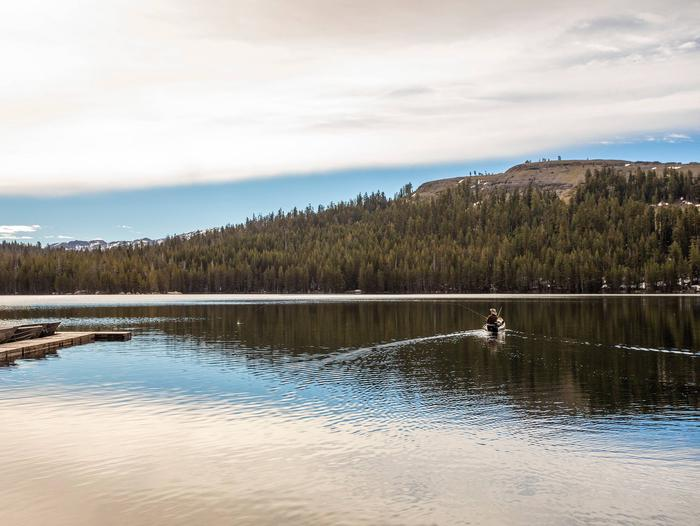 Kayak fisherman on Lake Alpine