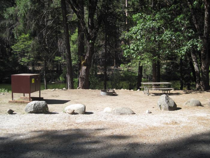 Food locker, picnic table, and fire ringSite 72