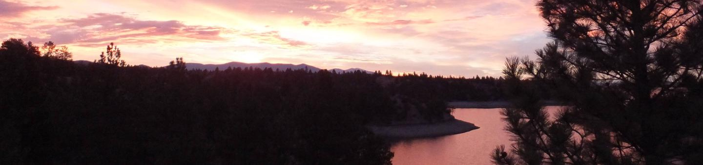 Canyon Ferry Reservoir at sunset.