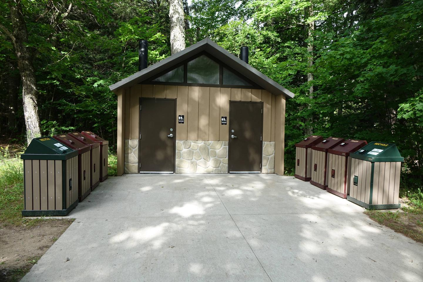 Vault bathrooms at Little Beaver Lake campground.Vault Bathrooms