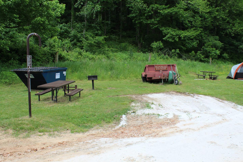 Steel Creek HC Site #40Steel Creek HC Site #40 dumpster and manure wagon