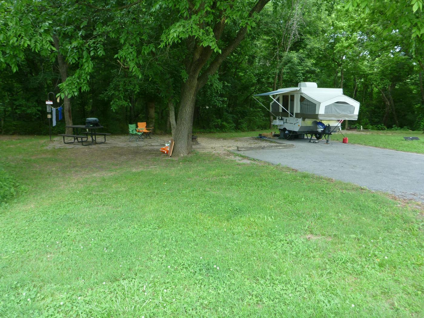 Tyler Bend Main Loop Ste #5-1Site #5, 54' back-in, no tent pad. Parking area is wide enough for RV and car to park side by side.