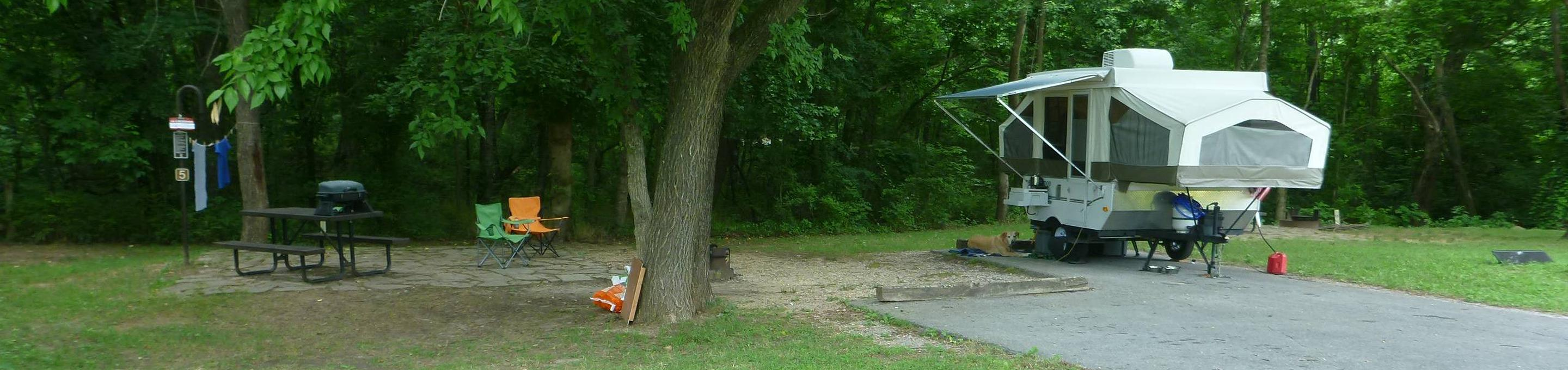 Tyler Bend Main Loop Ste #5-154' back-in, no tent pad. Parking area is wide enough for RV and car to park side by side.