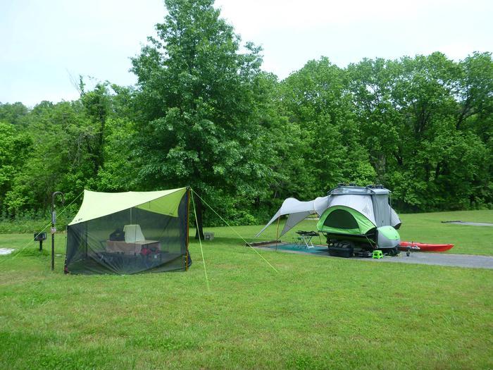 "Tyler Bend Main Loop Site #18-1Site #18, 75"" back-in, tent pad 15' x 15'."