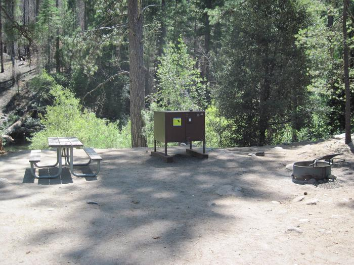 Food locker, picnic table, and fire ringSite 55