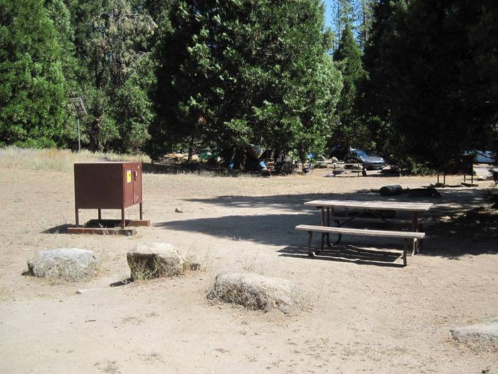 Food locker, picnic table, and fire ringSite 58